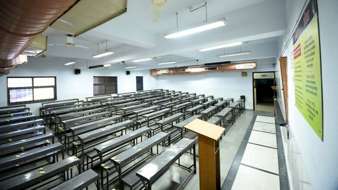 An empty classroom in a leading coaching centre in Kota.   Photo: Rohit Jain Paras/ThePrint