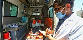 Representational image   A doctor checks a patient's status in an ambulance   Praveen Jain ThePrint