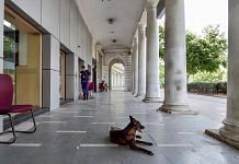 Connaught Place wears a deserted look during the lockdown in New Delhi, on 11 May 2021