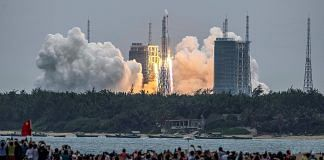 Long March 5B rocket, carrying China's Tianhe space station core module, at the Wenchang Space Launch Center in southern China's Hainan province, on 29 April 2021