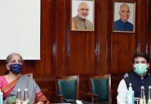File photo of Finance Minister Nirmala Sitharaman and MoS Anurag Thakur during a GST Council meeting, in New Delhi | ANI Photo