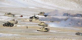 File photo of Indian and Chinese troops and tanks disengaging from the banks of the Pangong lake area in Eastern Ladakh, February 2021  ANI