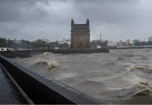 Strong sea waves near the Gateway of India due to Cyclone Tauktae approaching the coasts, in Mumbai, on 17 May 2021 | Shashank Parade PTI