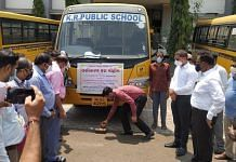 Buses of private schools are being used to carry vaccination beneficiaries back and forth from centres in Nandurbar district | Twitter | @IASRajBharud