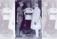 Panjab Singh, a Major at the time, receiving the Vir Chakra for his bravery during the 1971 war   Photo by special arrangement