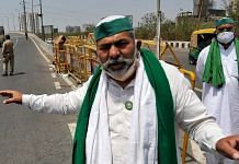 Farmer's leader Rakesh Tikait at Ghazipur border during a protest against farm law, on 21 April 2021.