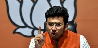 MP Tejasvi Surya at a press conference at BJP HQ, in New Delhi in November 2020 | ANI