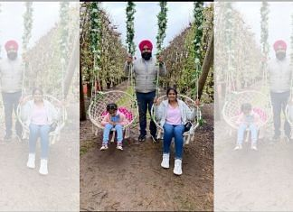 Gurpreet Singh, with wife Tejinder (right) and daughter Manseerat at a park in Australia last year. Gurpreet is currently stuck in India because of the travel ban | Photo: Gurpreet Singh