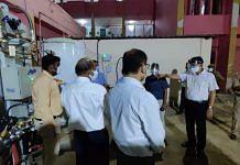 BJP MLC A.K. Sharma (R) at the launch of an oxygen plant at Deen Dayal Upadhyaya District Hospital in Varanasi on 30 April | Twitter | @aksharmaBharat