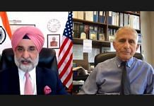 India's Ambassador to the US Taranjit Singh Sandhu and Chief Medical Advisor to White House Dr Anthony Fauci discussing India's Covid-19 crisis, on 5 May 2021 | Twitter/@SandhuTaranjitS