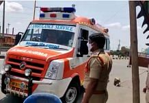 Telangana Police stop an ambulance at a checkpost in Suryapet district | By special arrangement
