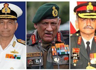 Vice Admiral Atul Kumar Jain, Gen Rawat and Lt Gen Anil Puri | ThePrint