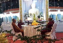 Buddhist monks recording the Ratana Sutta for the Sri Lanka Broadcasting Corporation Tuesday   By special arrangement