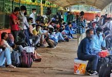 At the KSR Railway Station where scores had gathered from early morning even though many had trains as late as 8 pm | Photo: Praveen Jain/ThePrint