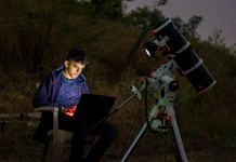 Prathamesh Jaju with his astronomical equipment in Nasrapur, near Pune, Maharashtra | By special arrangement