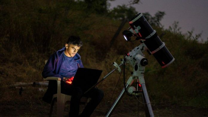 Prathamesh Jaju with his astronomical equipment in Nasrapur, near Pune, Maharashtra   By special arrangement
