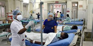 Black Fungus infected patients wait for surgery at a ward near the operation theatre at government ENT Hospital in Hyderabad, on 21 May 2021 | Representational Image | PTI