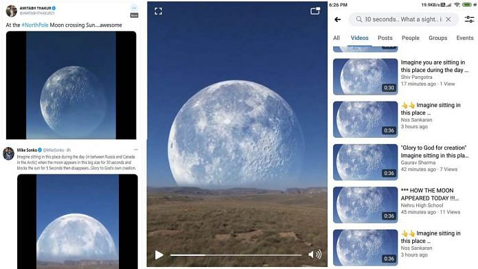 Screen grabs of tweets and the 30-second lunar eclipse that went viral on social media on 26 May.