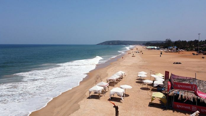 A file photo of a deserted view of the Calangute Beach during a four-day lockdown in Goa. | Photo: ANI