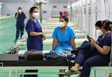 Health workers at Ramlila Maidan opposite GTB hospital in New Delhi, on 11 May 2021 | PTI