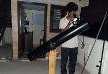 Himanshu, a young member of ABAA, looks through his telescope   Picture credit: Manasvi CM