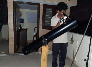 Himanshu, a young member of ABAA, looks through his telescope | Picture credit: Manasvi CM