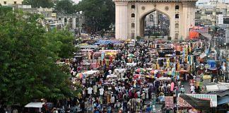A massive crowd for Ramzan shopping ahead of Eid-Ul-Fitr in Hyderabad on 6 May. | Photo: ANI