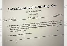 A photo of the IIT Goa question paper that is finding online attention for its unique nature. | Photo: Twitter/RajanKarna