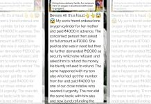 A Whatsapp message by a victim alerting others about a fraud | Image by special arrangement
