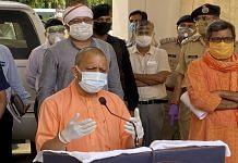 UP CM Yogi Adityanath addressing the media in Varanasi, on 9 May 2021 | PTI