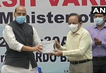 Defence Minister Rajnath Singh and Union Health Minister Harsh Vardhan released the first batch of Anti-Covid drug 2DG developed by DRDO, on 17 May 2021 | Twitter/@ANI