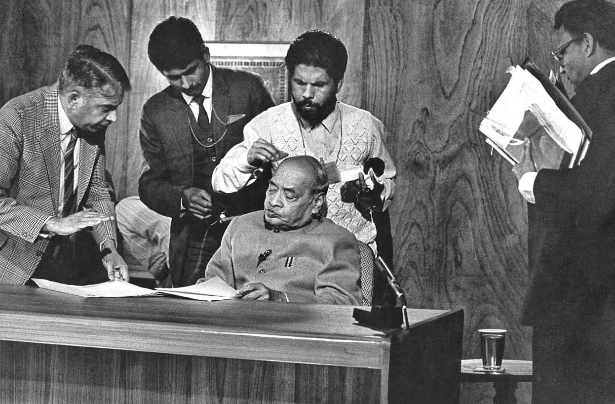 Prime Minister P.V Narasimha Rao gets his make up done ahead of an interview with BBC   Photo: Praveen Jain