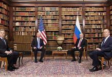 Antony Blinken, Joe Biden, Vladimir Putin and Sergei Lavrov at the US-Russia summit at Villa La Grange in Geneva, Switzerland on 16 June, 2021. Photographer: Peter Klaunzer | Bloomberg