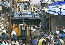 Rescue work going on the site where a building collapse in Malad region, Mumbai on 10 June 2021