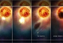 The four-panel graphic shows how the southern region of the rapidly evolving supergiant star, Betelgeuse, may have suddenly become fainter for several months during late 2019 and early 2020 | Photo: nasa.gov
