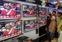 People watching TV in an electronics store   Representational Image   PTI Photo