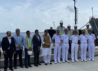 Rajnath Singh at the Karwar Naval Base, reviewing the progress of ongoing infrastructure development under 'Project Seabird'   Twitter