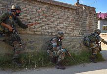 Security personnel during an encounter with militants, at Maloora on the outskirts of Srinagar, on 28 June 2021