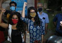 Devangana Kalita and Natasha Narwal after being released from Tihar Jail on 17 June 2021   Photo: Manisha Mondal   ThePrint