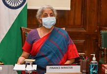 Finance Minister Nirmala Sitharaman during a meeting with MoS Finance Anurag Thakur, Secy (Rev.) and Infosys delegation at New Delhi on 22 June 2021 | PTI