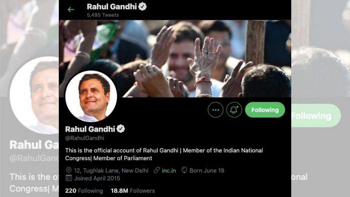 Screenshot of Rahul Gandhi's Twitter account