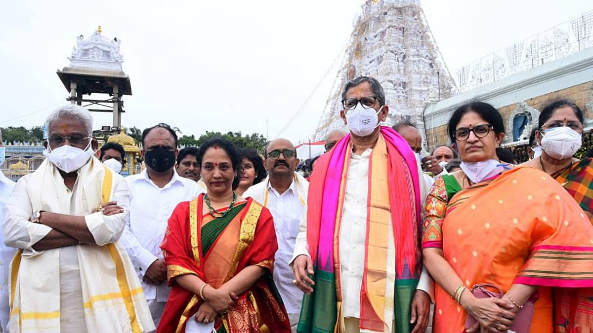 Chief Justice of India Justice NV Ramana (third from right) along with family members at the Sri Venkateswara Swamy temple in Tirupati on 11 June 2021 | ANI