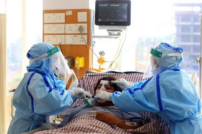 Nurses attend a Covid patient at a Delhi hopsital (representational image) | Photo: Suraj Singh Bisht | ThePrint