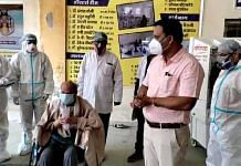 SDM Yogesh Bharsat with the staff and patients of Atmanirbhar Hospital | By Special Arrangement