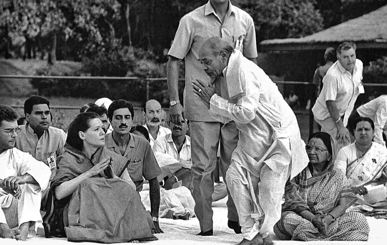 Former PM P.V. Narasimha Rao greets Congress leader Sonia Gandhi   Photo: Praveen Jain