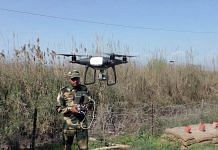 A BSF trooper operates a drone near Chenab river, Akhnoor, in Jammu, in this February 2021 image | Representational photo | ANI
