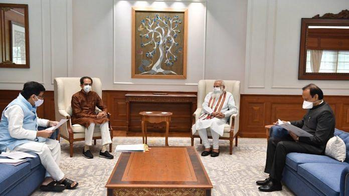 PM Narendra Modi with Maharashtra CM Uddhav Thackeray, Deputy CM Ajit Pawar and Congress leader Ashok Chavan during a meeting in New Delhi, on 8 June 2021 | Twitter/@CMOMaharashtra