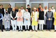 Prime Minister Narendra Modi with leaders from Jammu and Kashmir including Farooq Abdullah, Mehbooba Mufti, Ghulam Nabi Azad and Omar Abdullah. | Photo: Twitter/@narendramodi