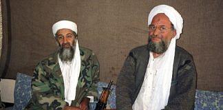 Osama bin Laden sits with Aiman al-Zawahiri (file photo) | Commons