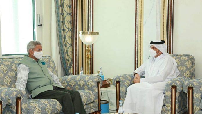 External Affairs Minister S Jaishankar with his Qatari counterpart Mohammed bin Abdulrahman Al-Thani, on 15 June 2021   PTI